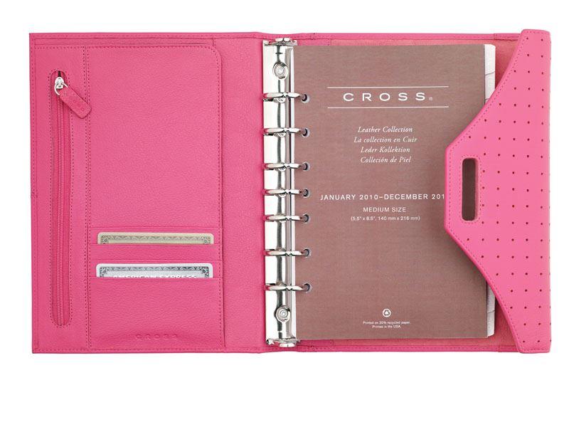 Кожаный органайзер Cross Medium (Ручка и блок еженедельник в комплекте), тип кожи: перфорированная, цвет: розовый ; 19 х23.7 см >