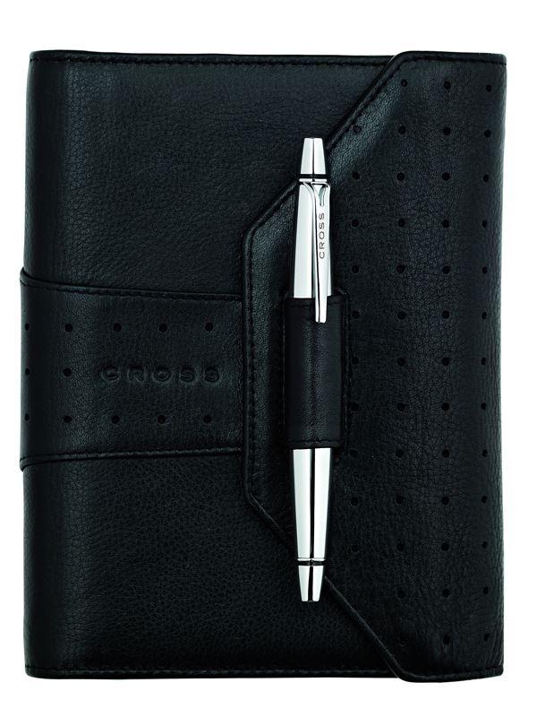Кожаный органайзер Cross Pocket (Ручка и блок еженедельник в комплекте), тип кожи: перфорированная, цвет: черный; размер 12.2х14.8 см >