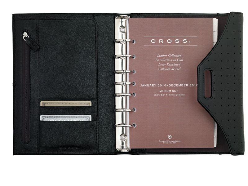 Кожаный органайзер Cross Medium (Ручка и блок еженедельник в комплекте), тип кожи: перфорированная, цвет: черный ; 19 х23.7 см >