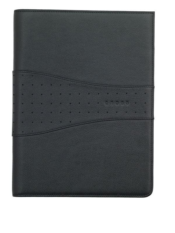 Кожаная папка Cross Junior (Ручка и блокнот в комплекте), тип кожи: перфорированная, цвет: черный; 18.7х24.2 см