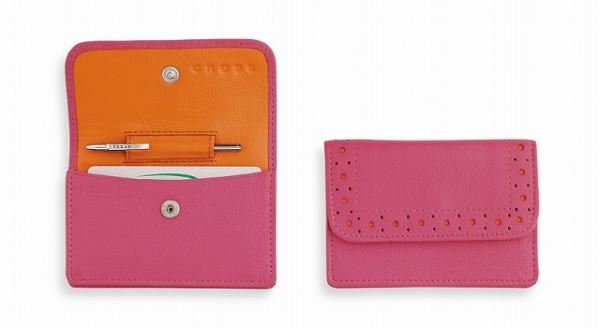 Кожаный футляр Cross для визитных карточек,  женский, ручка Mini Telescope в комплекте, цвет: розово-оранжевый
