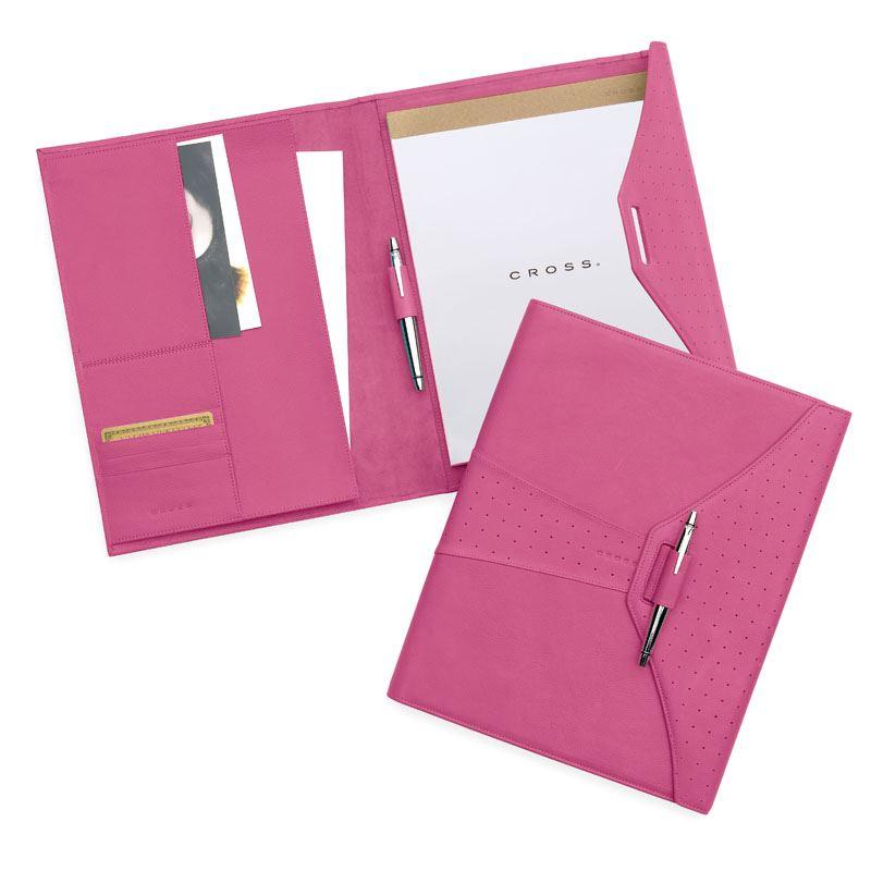 Кожаная папка Cross (Ручка и блокнот в комплекте), тип кожи: перфорированная, цвет: розовый; 24.5х32.1 см