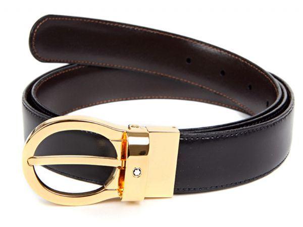 38579 Двусторонний черный/коричневый кожаный ремень Montblanc