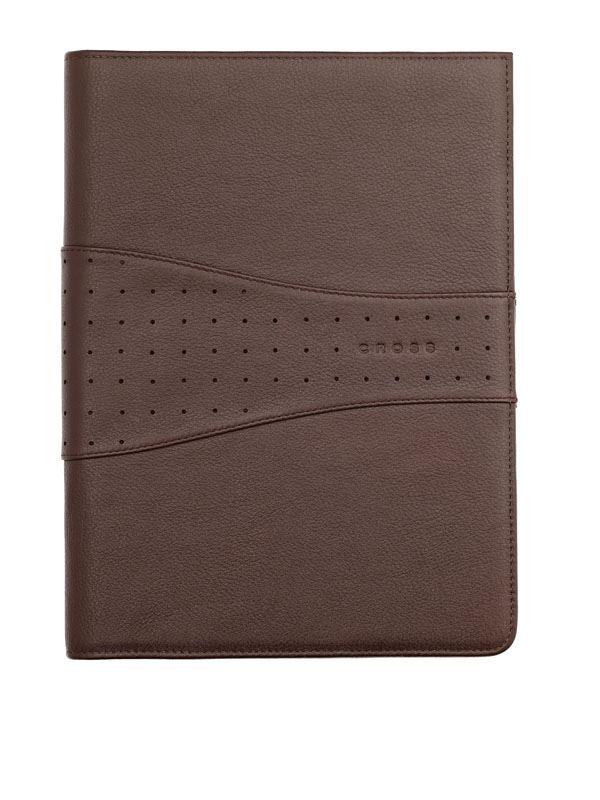 Кожаная папка Cross Junior (Ручка и блокнот в комплекте), тип кожи: перфорированная, цвет: коричневый; 18.7х24.2 см