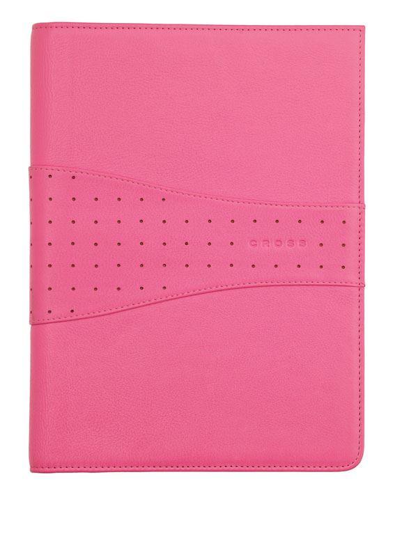 Кожаная папка Cross Junior (Ручка и блокнот в комплекте), тип кожи: перфорированная, цвет: розовый; 18.7х24.2 см >