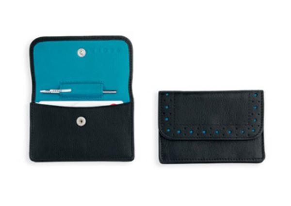 Кожаный футляр Cross для визитных карточек,  женский, ручка Mini Telescope в комплекте, цвет: черно-бирюзовый