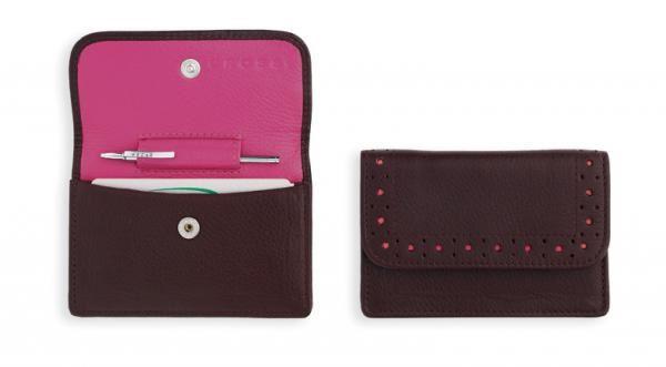 Кожаный футляр Cross для визитных карточек,  женский, ручка Mini Telescope в комплекте, цвет: розово-коричневый