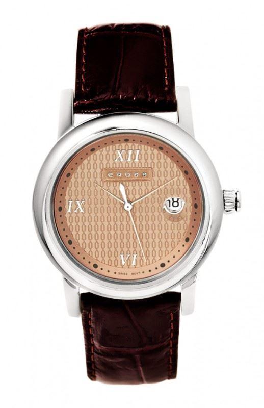 Часы Cross Chicago мужские, корпус: нержавеющая сталь, коричневый кожаный ремешок под крокодиловую кожу