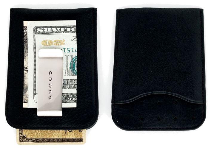 Кожаный футляр Cross для визитных и кредитных карточек с зажимом для банкнот, тип кожи: перфорированная, цвет: черный