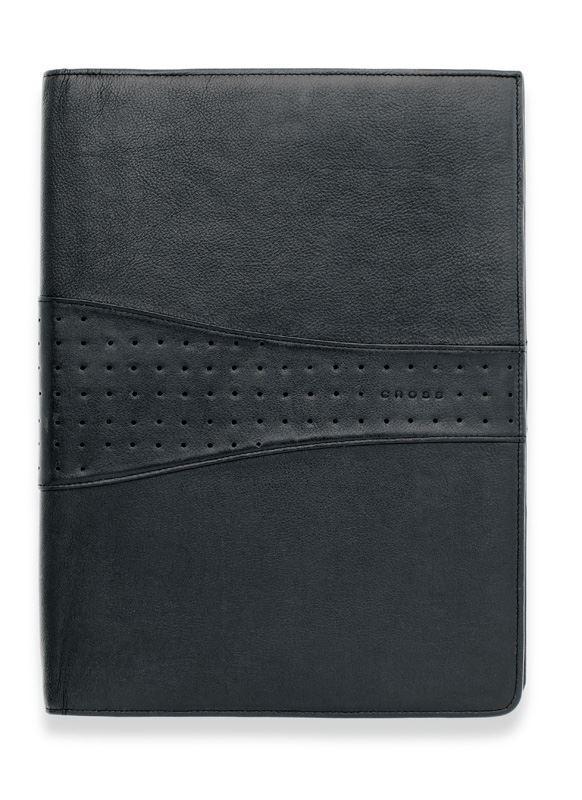Кожаная папка Cross (Ручка и блокнот в комплекте), тип кожи: перфорированная, цвет: черный; 24.5х32.1 см