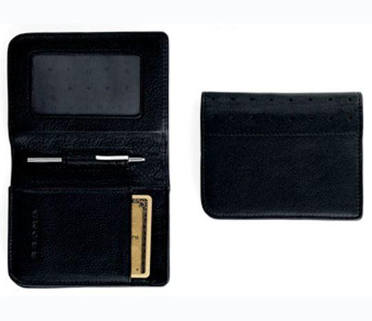 Кожаный футляр Cross для визитных и кредитных карточек со спец отделением для пропуска,  мужской, ручка Mini Telescope в комплекте, цвет: черный