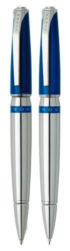 Набор Cross Sydney: шариковая ручка и механический карандаш 0.7 мм, цвет: Blue/Chrome Stripe