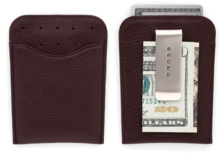 Кожаный футляр Cross для визитных и кредитных карточек с зажимом для банкнот, тип кожи: перфорированная, цвет: коричневый