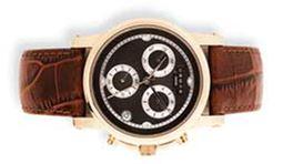 Часы-хронограф Cross Milan, корпус: нержавеющая сталь, коричневый кожаный браслет под крокодиловую кожу