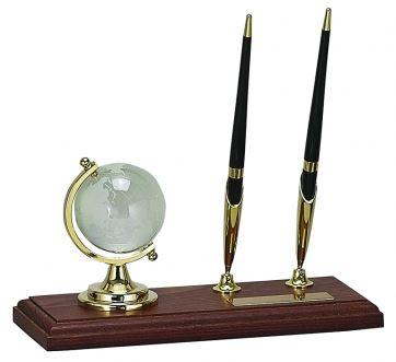 5101 Настольный набор: глобус из стекла + 2 ручки шариковые